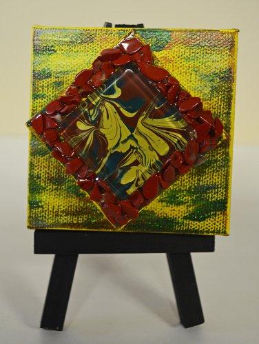 Mini InnergyArt - Yellow, Green and Brown with Red Jasper