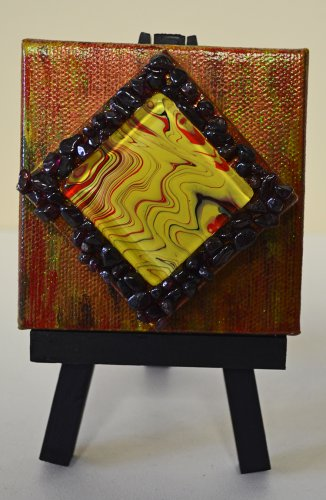 Mini InnergyArt - Red, Black and Yellow with Red Garnet