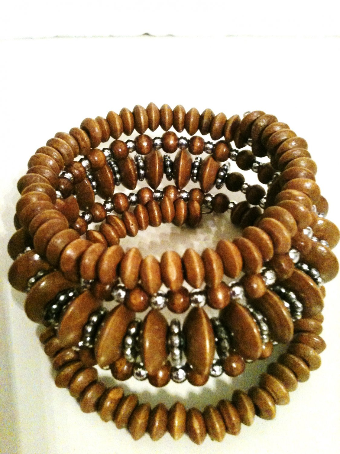 BROWN & SILVER BEAD STRETCH BRACELET (NEW)