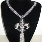 FLEUR DE LIS SILVER NECKLACE WITH MATCHING EARRINGS (NEW)