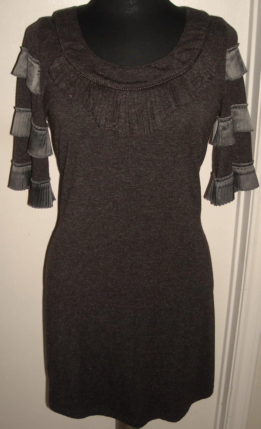 VINTAGE SHORT BROWN DRESS BY TWEED SIZE M