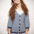 Navy Blue and white Striped Sweater#1512