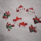 LOT 8 BOUTIQUE CHRISTMAS HANDMADE CLIPPIES SANTA REINDEER CANDY CANES & MORE!!!