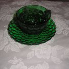 VINTAGE 1940-65 FOREST GREEN BUBBLE GLASS CUP & SAUCER SET BY ANCHOR HOCKING!!!!