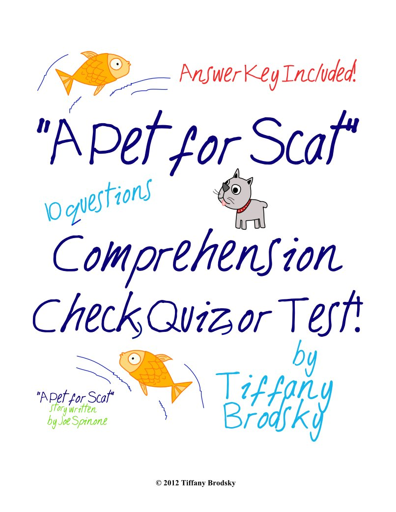 A Pet for Scat Reading Comprehension Quiz, Test, or Check; a PDF Printable