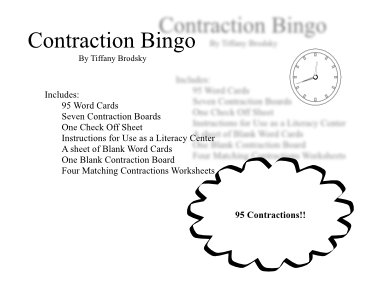 Contraction Bingo and Matching Sheets with 95 Contractions in PDF