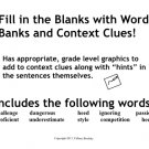 Reading: Fill In the Blanks with Context Clues Vocabulary Sentences in PDF
