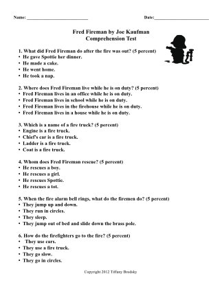 Fred Fireman Reading Comprehension Test with Answer Key- Great Story for Fire Week