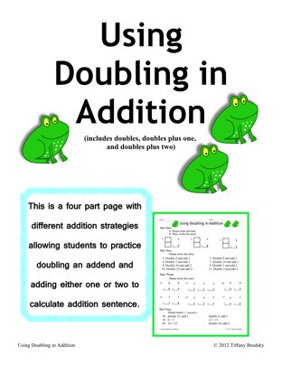 """""""Using Doubling in Addition"""" math practice of Doubles, Doubles Plus One, & Doubles Plus Two (PDF)"""