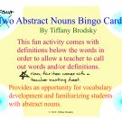 Abstract Noun Bingo Game or Center Vocabulary Development Fun Activity to Print and Use! PDF