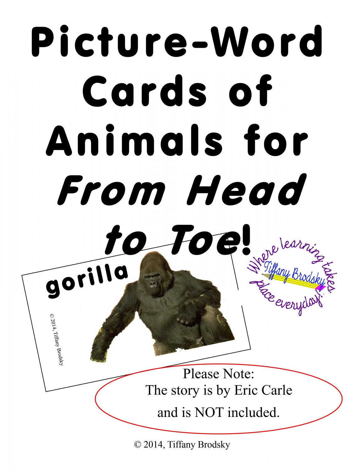 Picture-Word Cards for From Head to Toe by Eric Carle 12 Animal Photos w/ Words PDF