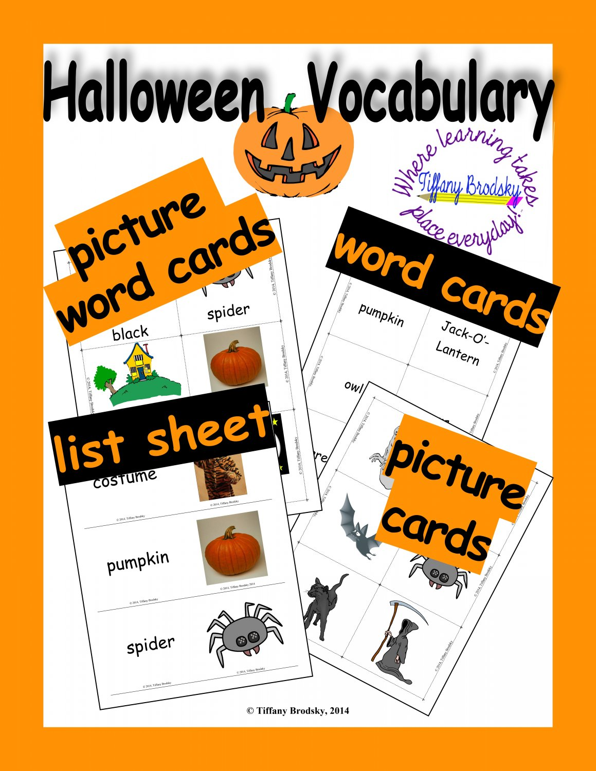 Halloween Vocabulary Word, Flash, & Picture Cards and List Sheets PDF; Good for Primary, ESOL & ESE