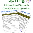 Spring Informational or Expository Text Reading Passage in PDF (Adobe) Form