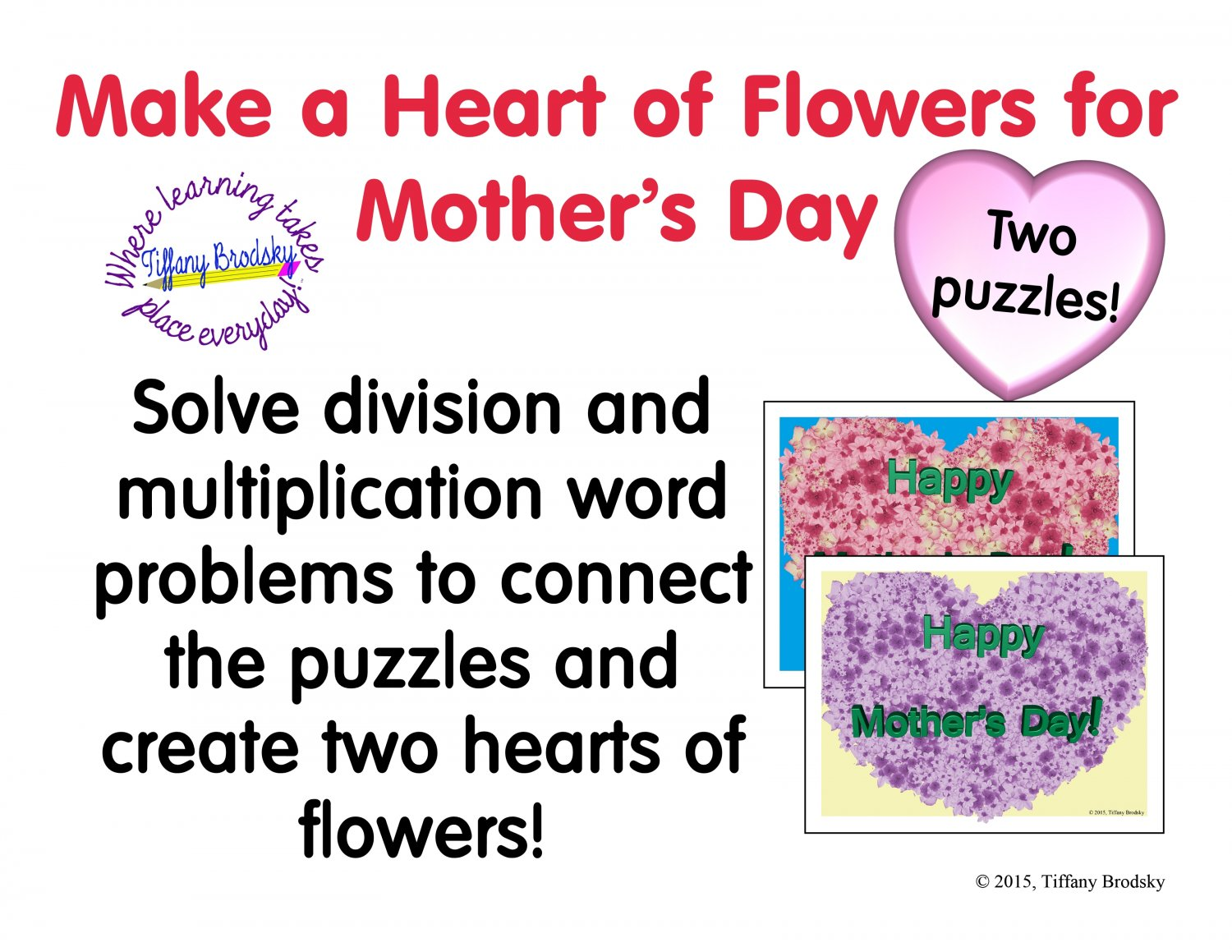 Happy Mother\'s Day Multiplication and Division Word Problem Puzzles PDF
