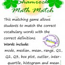 Shamrock Math Match: Vocabulary Game for Mode, Median, Box Plot, Histogram, etc.  PDF