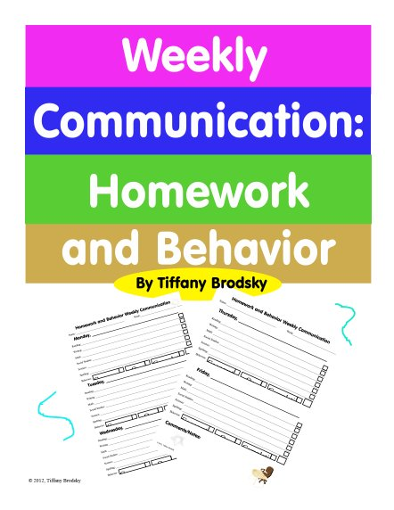Weekly Communication: Homework and Behavior Class Management PDF