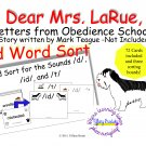 Dear Mrs. LaRue, Letters from Obedience School suffix -ed word sort PDF