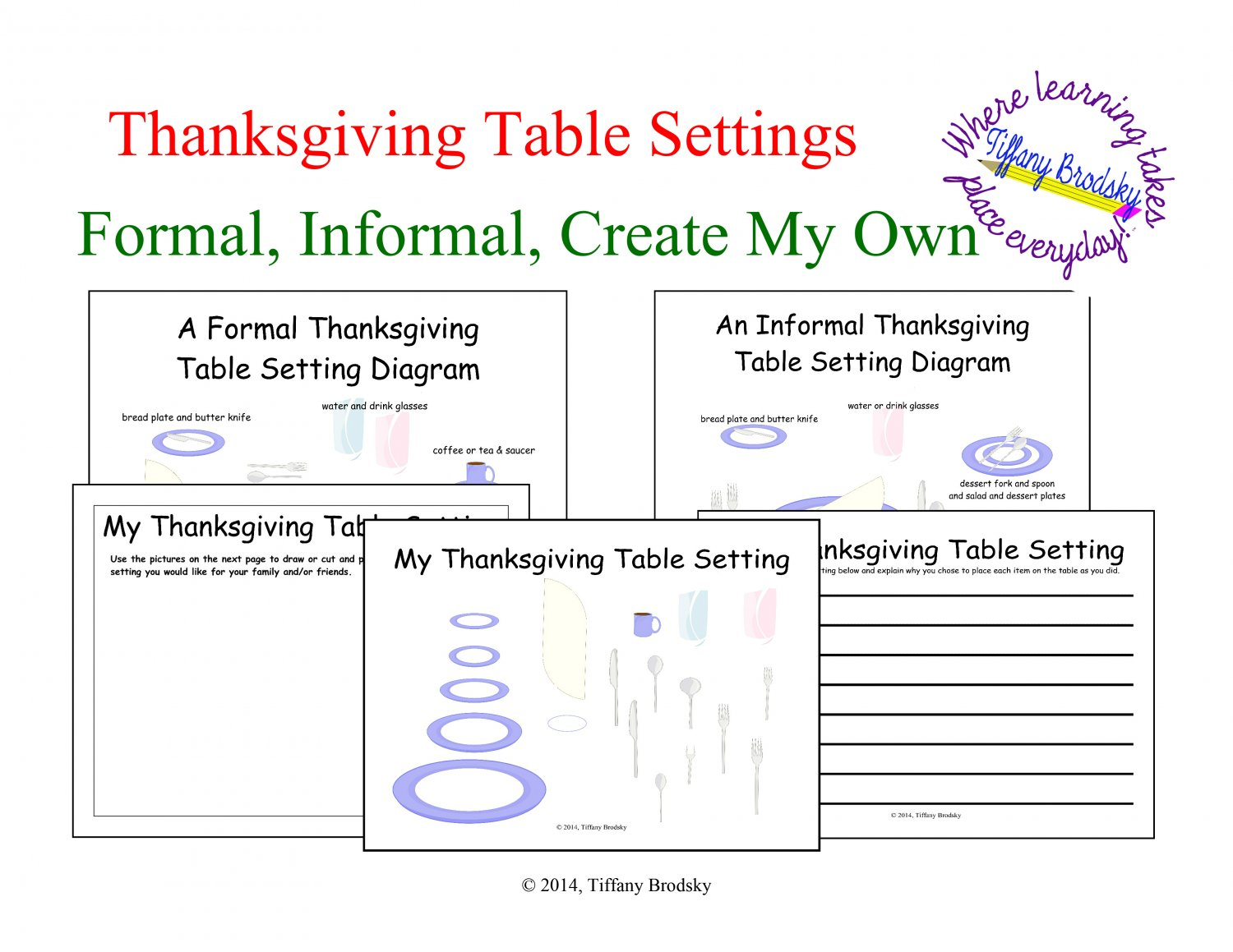 Thanksgiving Table Setting Art and/or Writing Activity in PDF
