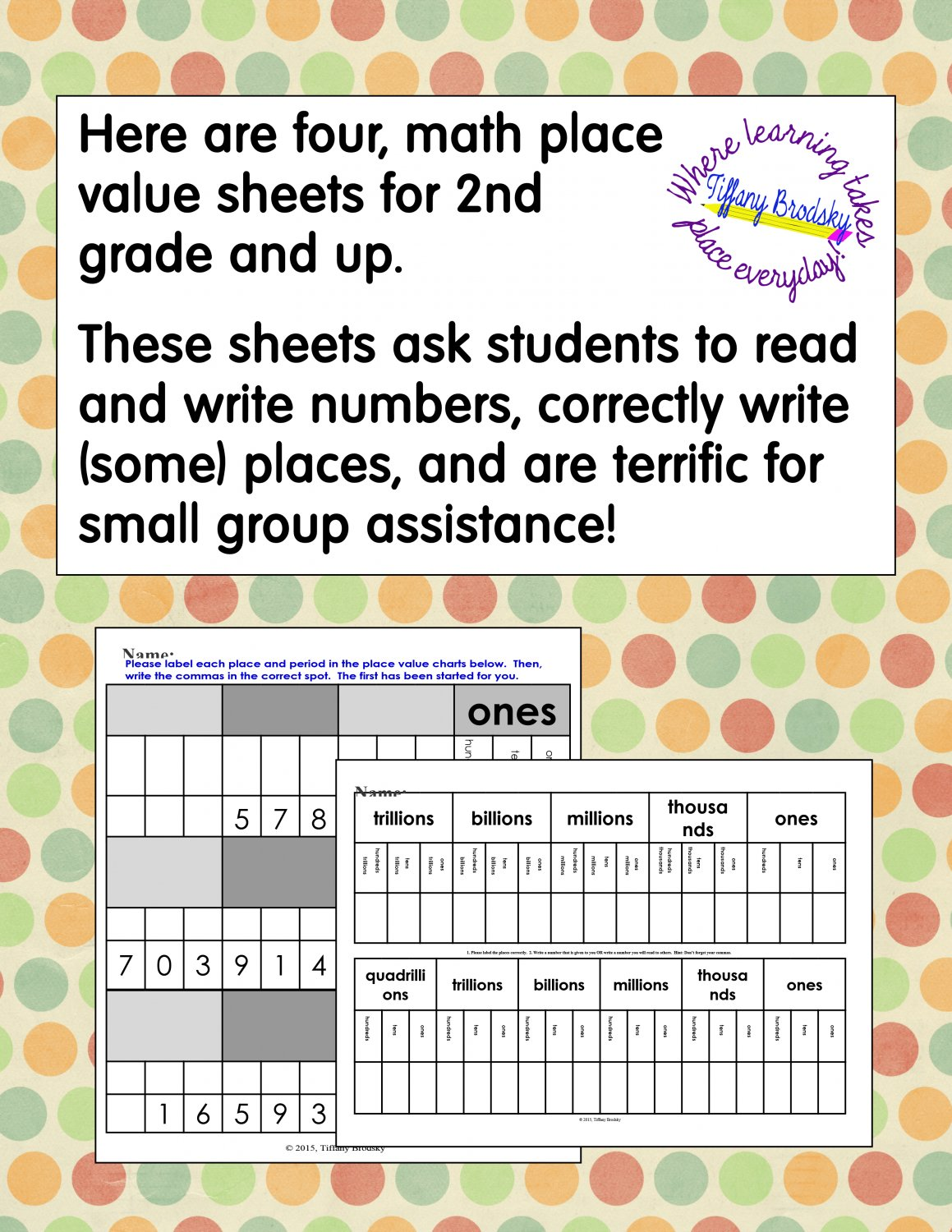 Place Value Charts PDF