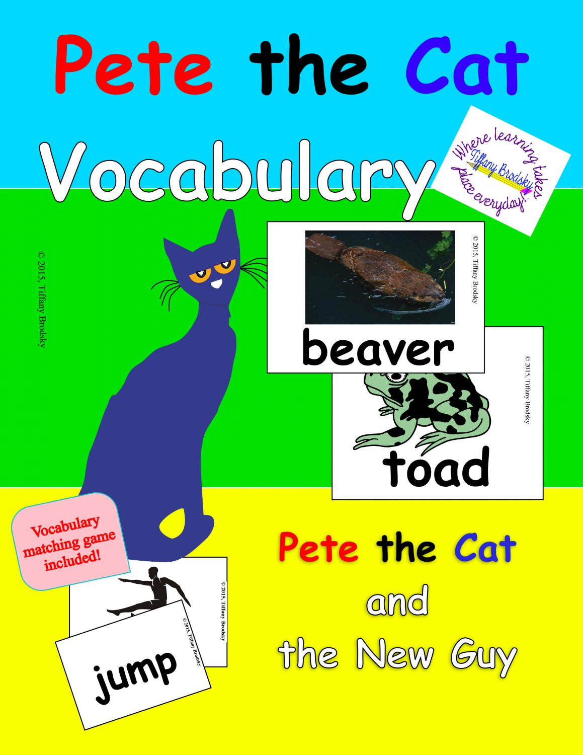 Pete the Cat and the New Guy Vocabulary Cards in PDF