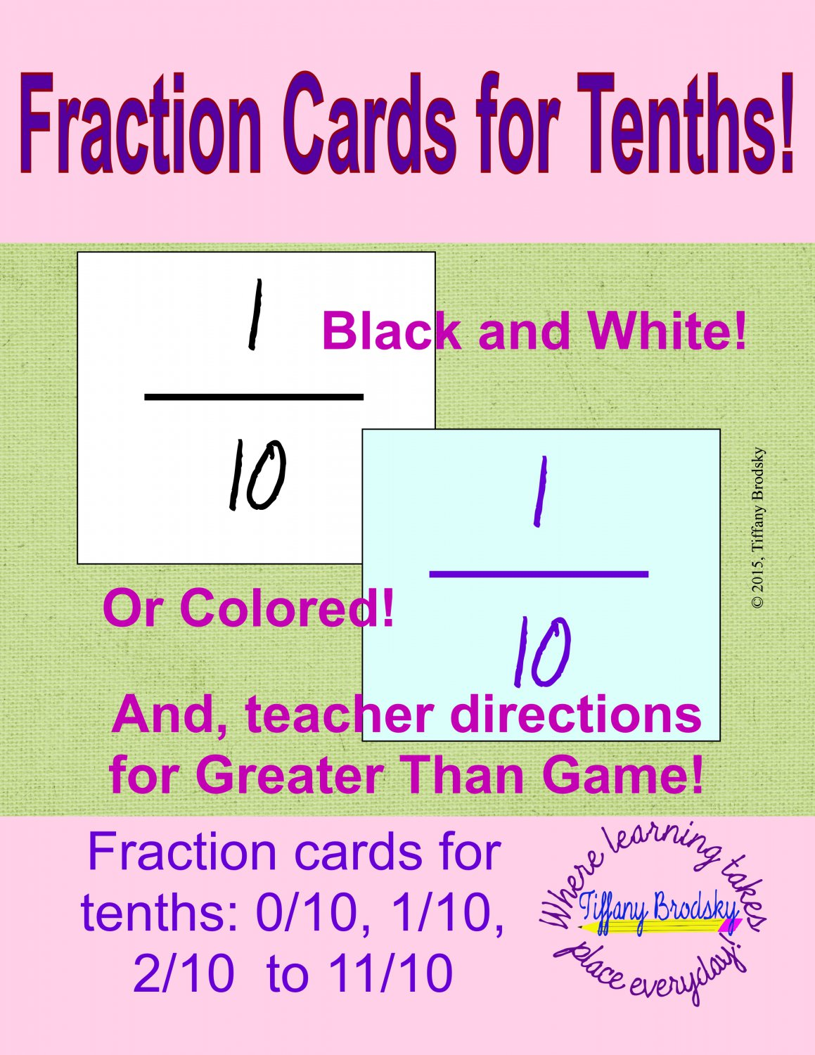 Fraction Cards for Tenths! PDF