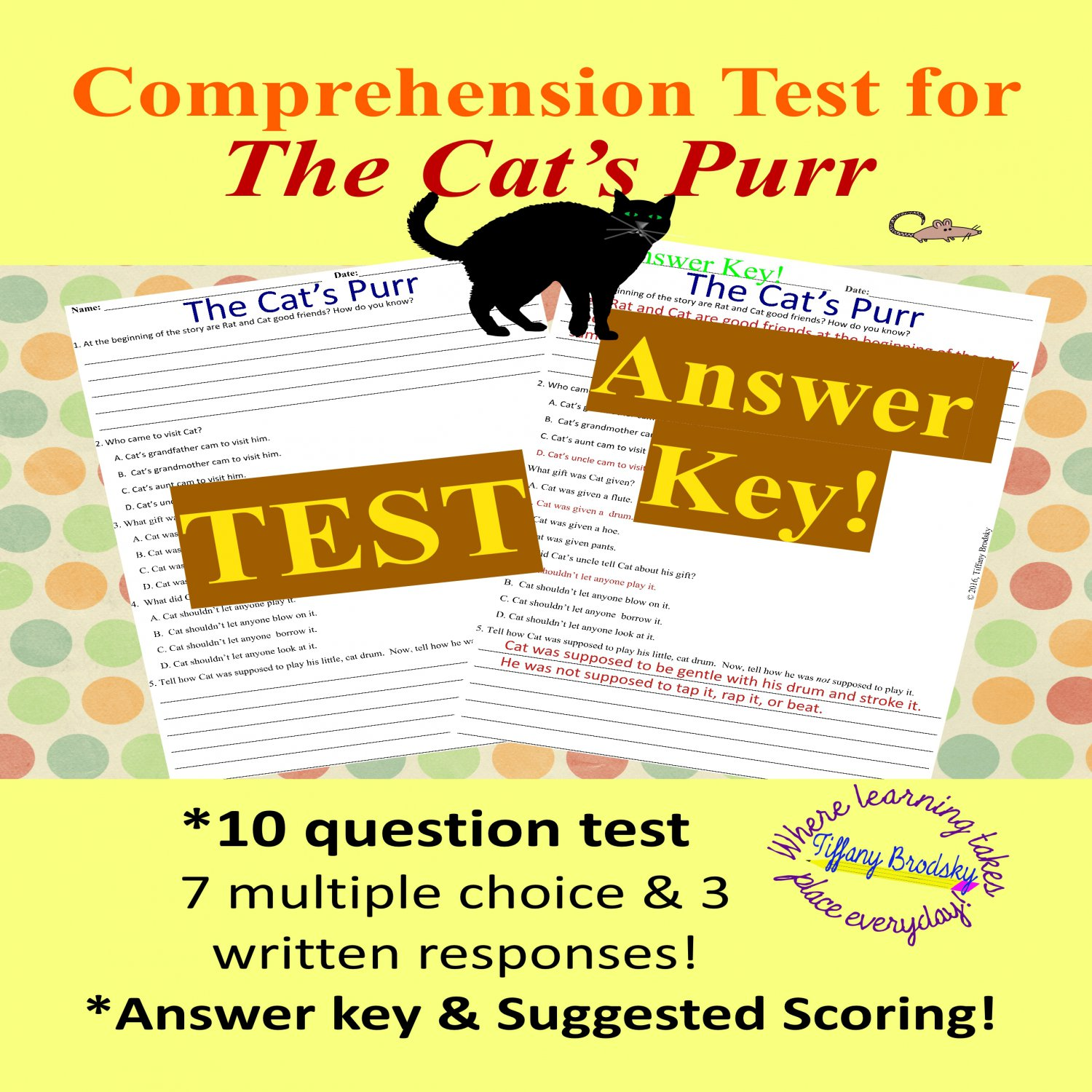 The Cat's Purr Comprehension Test and Answer Key