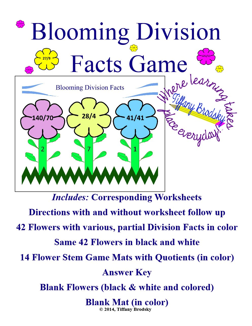 Blooming Division Facts Game for Whole Class, Math Center, Small Group, etc. in PDF
