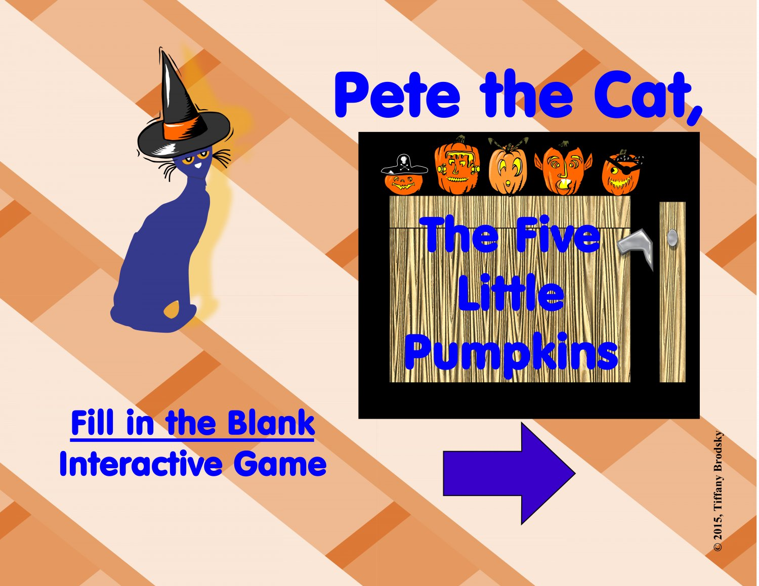 Pete the Cat Five Little Pumpkins Fill in the Blanks Reading / Vocabulary Halloween Game PDF