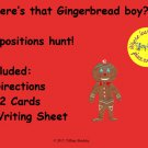 Easy to Use Where's the Gingerbread Boy? Preposition Grammar Game Hunt PDF
