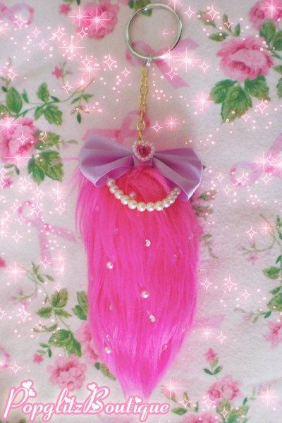 Kawaii Hot Pink Kitty Neko Kitten Fox Faux Fake Fur Tail Keychain