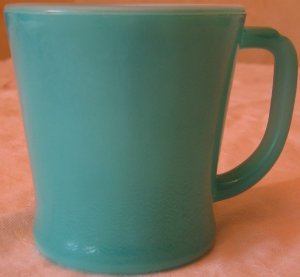 Vintage FireKing Green Fired on Color D Handle Coffee Cup
