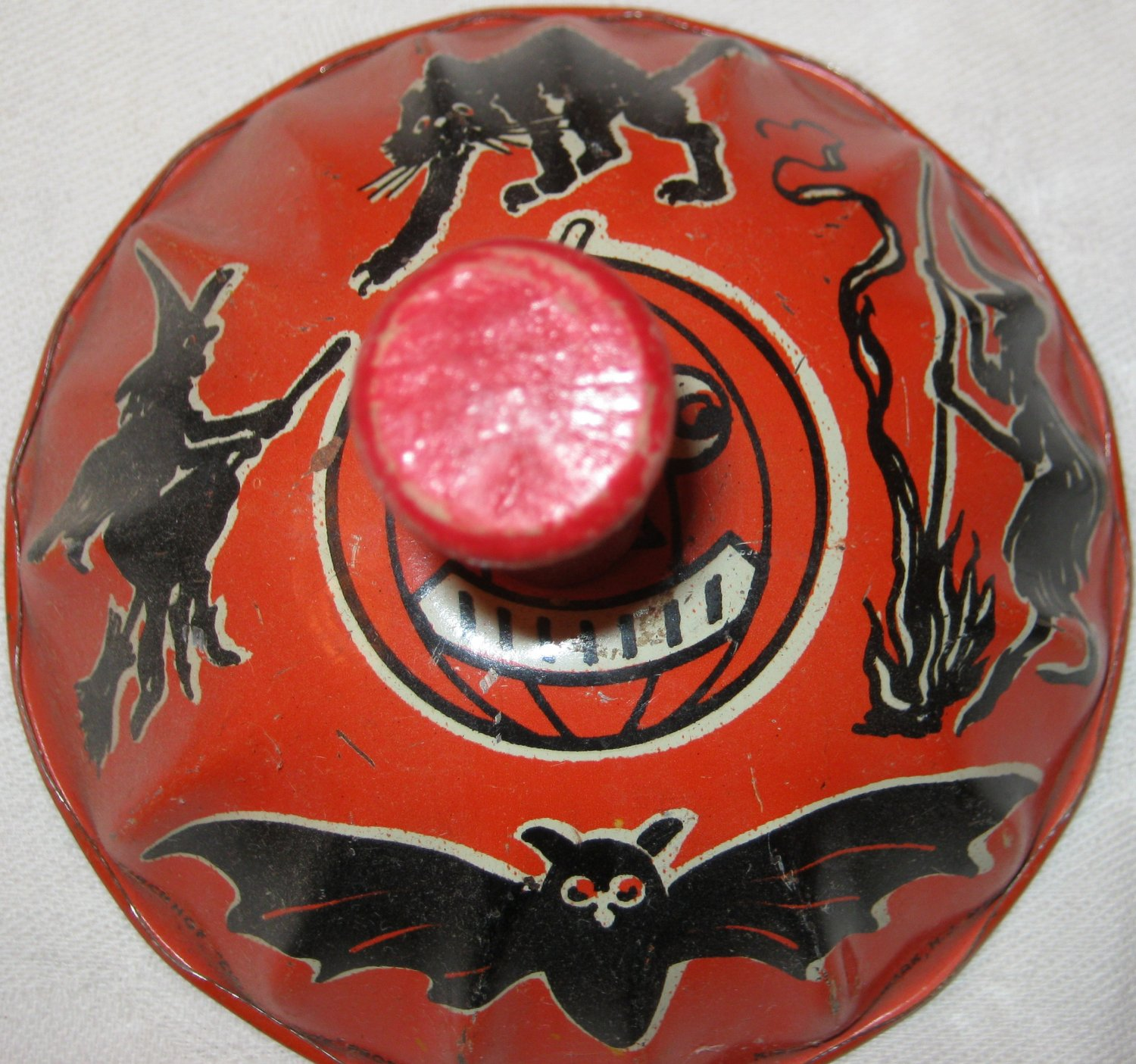 """Vintage Kirchhof Metal Noisemaker Black Cat and Witch """"Life of the Party"""""""