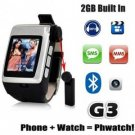 1.5 Inch Touch Screen Quad band Watch Mobile Phone with Detachable Bluetooth Device G3