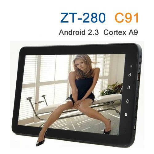 """10.2"""" Cortex A9  Zt-280 C91 Tablet Pc Android 2.3 Capacitive Screen 512mb 8gb 1ghz Camera"""