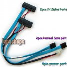 Dual 7+15 Pins Male SERIAL ATA SATA TO P4 4P POWER EXTENSION CABLE