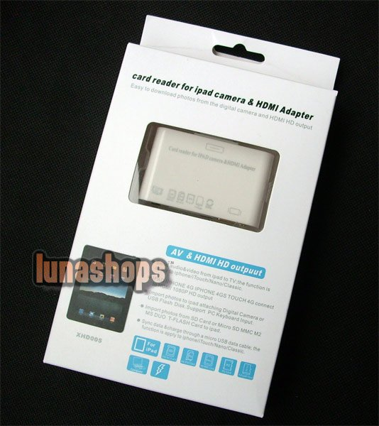 HDMI Dock Adapter HDTV Video SD Card Reader + USB Cable for iPad iPhone 4G