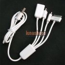 USB Male To Micro USB Male + Mini USB Male + Ipad Dock Hub Splitter Cable