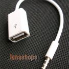 3.5mm 4 poles Male to USB Female Tranfer Cable Adapter For12V Car CD Player AUX