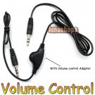 For 1pcs Volume control 3.5mm male to male audio cable adapter