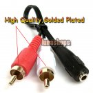 Golden Plated 3.5 mm 3.5mm stereo female jack to 2 male RCA adapter cable
