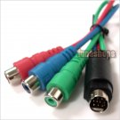 9 Pin S-Video Male to 3 RCA TV AV YpbPr Female Cable Adapter
