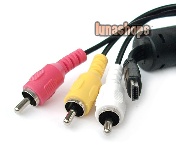 C8 Mini Usb Male To 3 RCA AV Video Audio Cable Adapter For Sony Camera DV Etc.