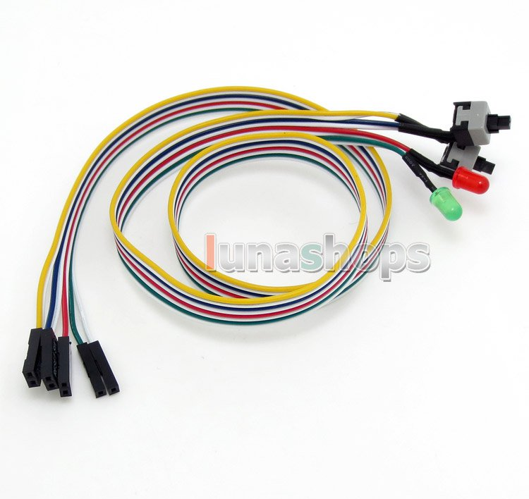 C8 0.5m PC Computer Case Power Reset HDD LED + 2 Switch Cable Connector Adapter