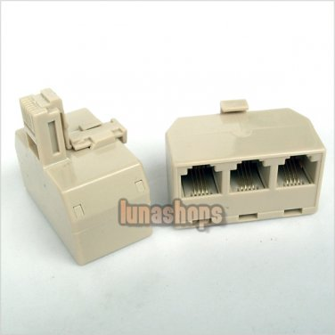 C0 1pc RJ11 telePhone Line Modem Connector Triple Adapter Splitter Male 3 Female