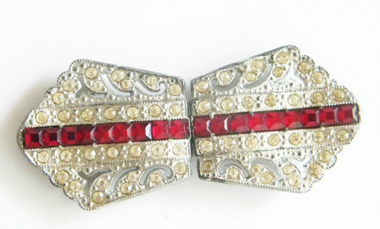 Art Deco Antique Vintage Red Diamond Belt Buckle