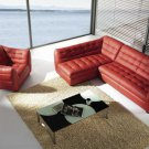 Burgundy leather sectional with chair