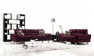 Cheerful Plum Colored Sofa Set
