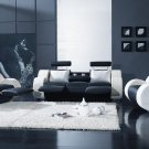 Contemporary Black and White Sofa recliners