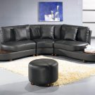 Contemporary Black Leather Sectional