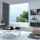 Contemporary ss coffee table with glass top